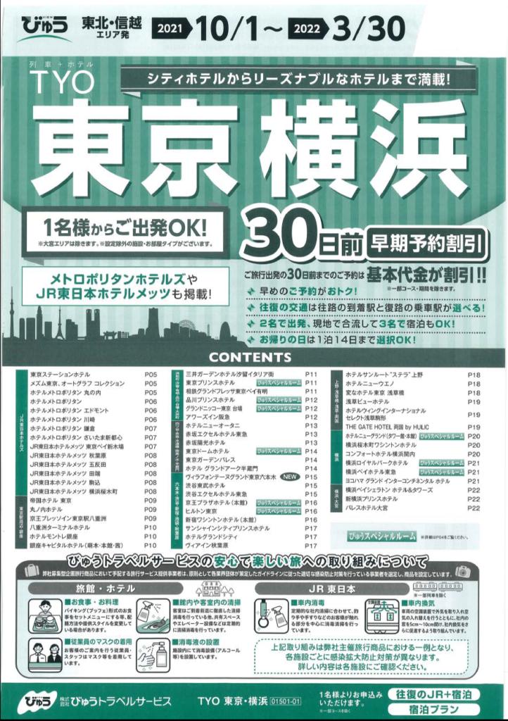 【東北・信越エリア発】東京・横浜パッケージプラン